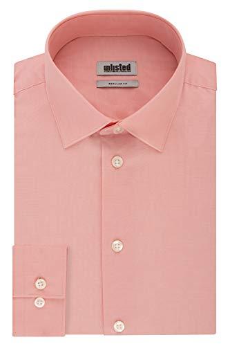 Kenneth Cole Unlisted Men's Dress Shirt Regular Fit Solid, Coral, 16'-16.5' Neck 34'-35' Sleeve (Large)