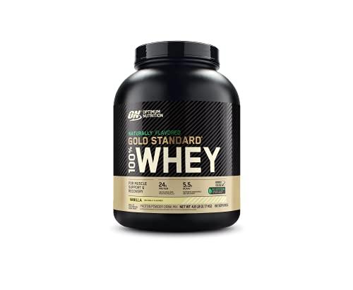 Optimum Nutrition Gold Standard 100% Whey Protein Powder, Naturally Flavored Vanilla, 4.8 Pound...