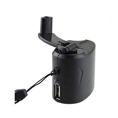 Teléfono móvil Energía de Emergencia Cargador de manivela USB Generador eléctrico Carga móvil Universal Carga de Dinamo de Mano (Negro) ESjasnyfall