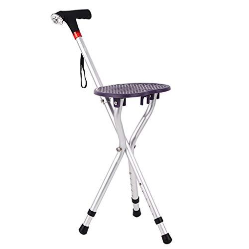 Draagbare wandelstok met stoel, oudere wandelstoel, met licht, antislip, verstelbare hoogte (80-90 cm)