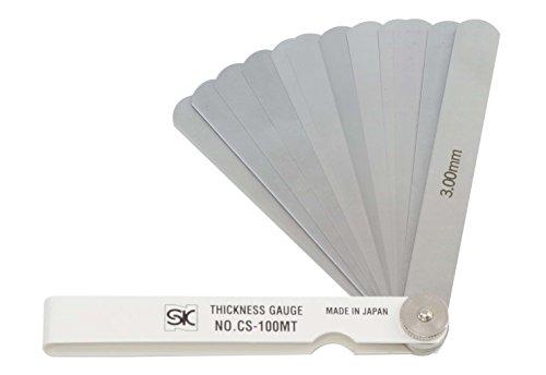 新潟精機 SK シクネスゲージ(すきまゲージ) カラースリーブタイプ 白 12枚組 100mm CS-100MT 0.04-3.00mm