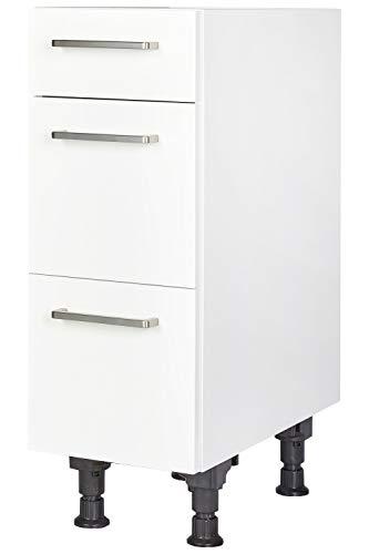 Küchen Unterschrank 30cm in Weiß mit Schubladen Küchenblock Küchenzeile nobilia