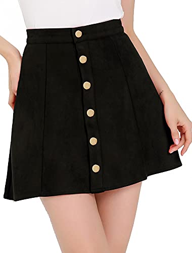 Allegra K Women's Faux Suede Button Closure A-Line High Waisted Vintage Mini Short Skirt Medium Black