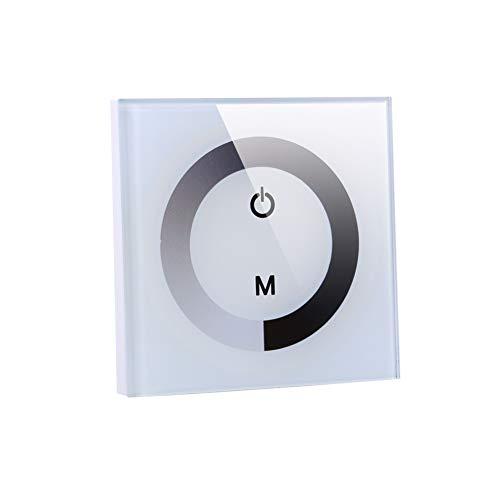 eecoo Interruptor de luz táctil de Pared, Regulador de Brillo del Interruptor de atenuación LED, Panel táctil de un Solo Color para Controlador Tira de luz LED DC 12V-24V(Blanco)