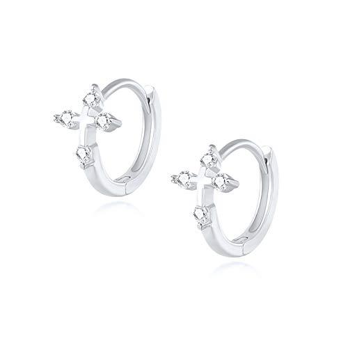 Arete Cristales creativos Pendientes de aro cruzado para mujer para mujer Hebillas de orejas Pendientes de cartílago 925 Joyería de plata esterlina para mujeres niñas ( Gem Color : Silver )