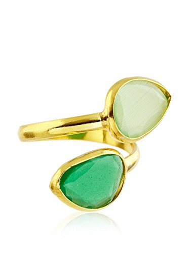 Córdoba Jewels | Anillo en Plata de Ley 925 bañada en Oro. Diseño Tú y Yo Zafiro Agua Marina