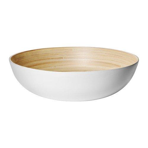 Ikea RundligServierschüssel, Bambus, weiß–30cm