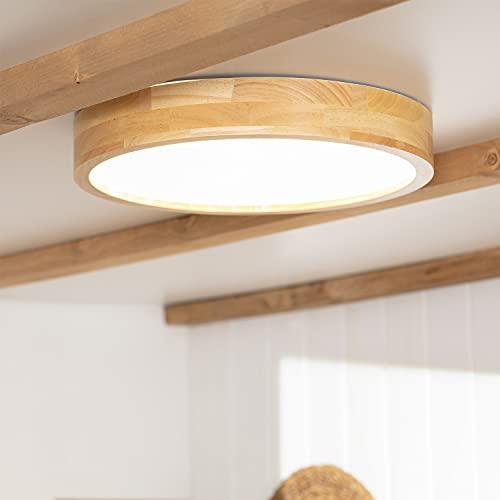 LEDKIA LIGHTING Plafón LED para Cocina, Comedor, Habitación, Baño 20W Circular Koks Temperatura de Color Seleccionable (Blanco Frío, Neutro, Cálido) Madera