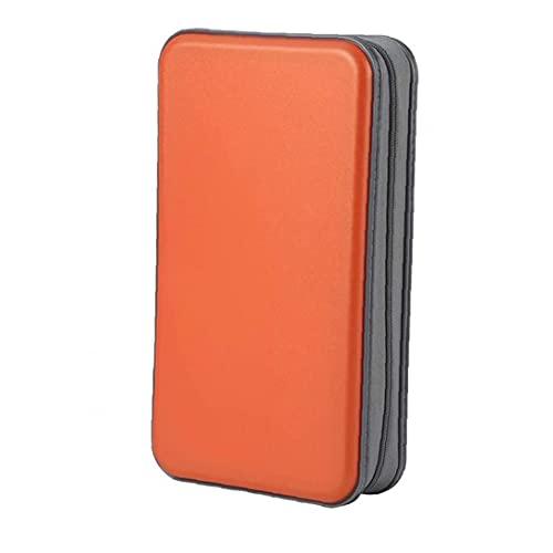 Custodia cd, portafoglio del cd portafoglio DVD Binder DVD Organizer Borsa di archiviazione Hard Plastic 80 Capacità Portable Arancione