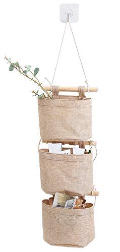 AARainbow Aufbewahrungstasche aus Baumwoll-Leinen-Stoff, abnehmbar, faltbar, waschbar, zum Aufhängen, mit 3 Taschen, für die Wand, Tür, Organizer für Zimmer, Badezimmer, 1 Stück, Khaki