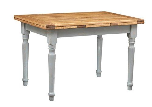 Kekse Ausziehbarer Tisch aus massivem Lindenholz – Landhausstil – Shabby Stil – Struktur grau antik Tischplatte Natur L 120 x T 80 x H 80 cm