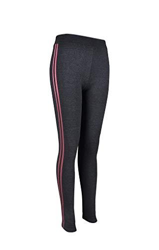 F&P Pantalon de Yoga Extensible Thermique pour Femme Leggings Pleine Longueur Pantalon de Yoga Taille Haute en Coton avec Rayures latérales Extra Comfort S/M/L/XL (9667-GreyPink, S-M)