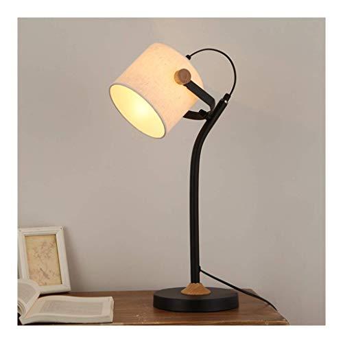 LJ Schreibtischlampe Tischlampe - Nordic Fabric Wood Art Schreibtischlampe , Druckknopfschalter / E27 * 1 , Augenschutz Kinderlernen Büro Studie Lesen am Krankenbett,B-6w Ferndimmen