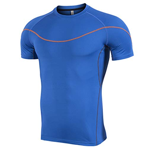 T-Shirt Tops Men's Fitness Fast-Drying Line Sports Breathable Short Sleeve (L,1Blue)