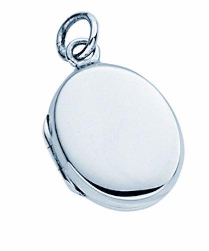 TF Klassischer Medaillon-Anhänger oval Silber 925 I Silberschmuck kleines ovales Medaillon zum Öffnen für Ketten/Größe: 16x11 mm Juwelierqualität aus...