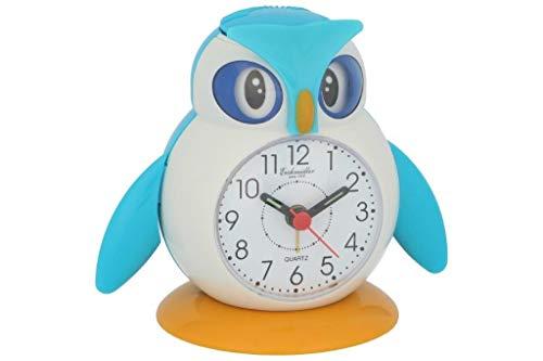 Eichmüller kinderwekker uil blauw analoge wekker met alarm snooze en licht 9848-01