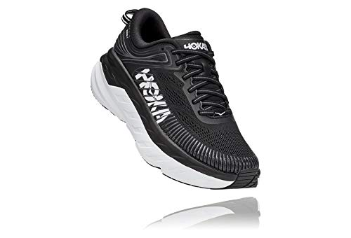 HOKA ONE ONE Women's Bondi 7 Running Shoe, Black/White, 9