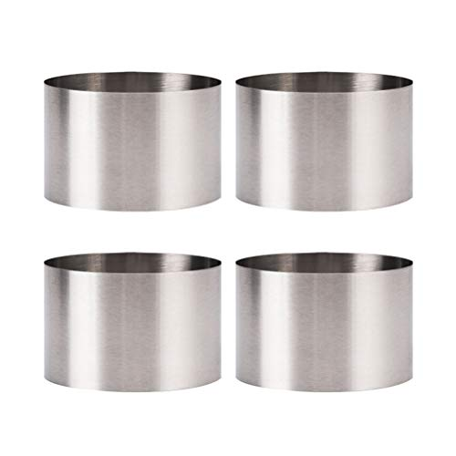 BESTONZON 4pcs Stainless Steel Cooking Rings Round Food Rings for Cooking Crumpets Eggs Pastry Mousse Desserts(6 * 6 * 5cm)