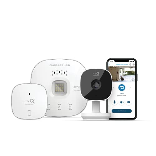 myQ Smart Garage HD Camera & Smart Garage Hub Bundle- Wi-Fi & Bluetooth- Smartphone Controlled - Two Way Talk - Works with Key by Amazon in-Garage Delivery, White