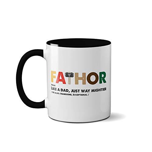 Tasse für Vater, Thor, Vatertag, Donner, Blitz, Gott Hammer, Odin, Mythologie, Tee (schwarzer Griff)