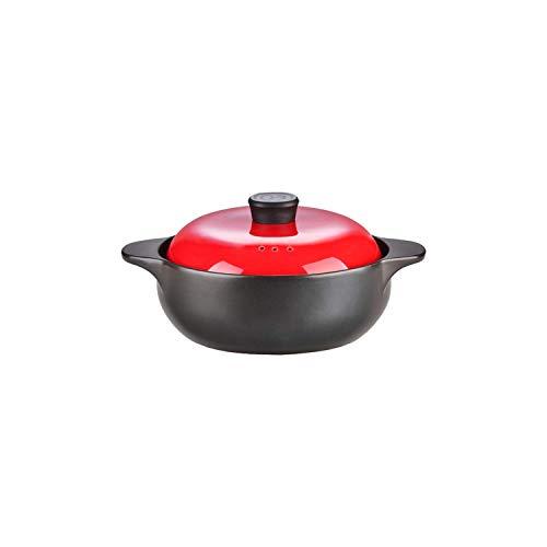 MissZZ Soupe à soupière en céramique Pure avec Couvercle à Double poignée avec feu Ouvert Plat Noir Rond en céramique Casserole/Pot en Argile/Pot en Terre Cuite/Batterie de Cuisine en céramiq