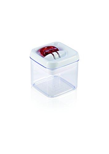 Leifheit Fresh and Easy Vorratsbehälter 400 ml, eckig, luft- und wasserdichte Vorratsdose mit patentierter Einhand-Bedienung, Frischhaltedose, stapelbare Aufbewahrungsboxen, transparent, rot