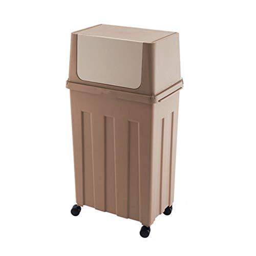 Poubelle Cuisine Poubelle, côté Ouvert Étape Poubelle for la Maison, Cuisine, Salle de Bains et 8 Gallon Corbeille Bacs à déchets (Color : Brown B, Taille : 30l)