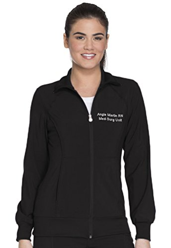 Cherokee Scrubs Embroidered Women's Infinity Zip Front Warm-up Jacket (Style 2391A, Black, XL)