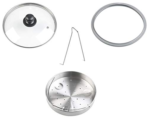 Rosenstein & Söhne Zubehör zu Siebeinsatz: 4-teiliges Edelstahl-Dampfgar-Einsatz-Set für Schnellkochtöpfe (Dampfeinsatz)