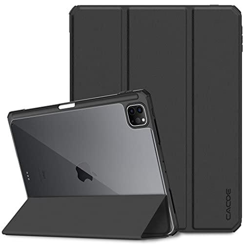 CACOE Hülle Kompatibel mit iPad Pro 11 2021/2020 mit Stifthalter, Schutzhülle mit Durchsichtiger Rückseite und TPU Stoßfest Grenze, mit Auto Schlaf/Wach Funktion, Schwarz