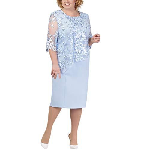 LOPILY Spitzenkleid Damen Große Größen Elegant Abendkleid für Mollige mit Blumendruck Zweilagig Cocktailkleider Kleid für Brautmutter Übergröße Edel Midikleid Plus Size Frauenkleid