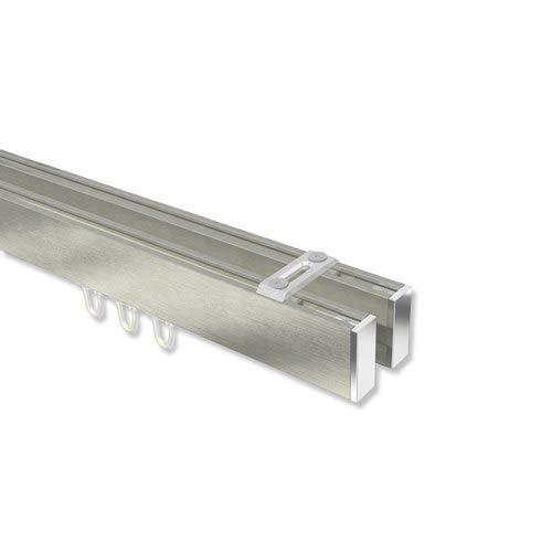INTERDECO eckige Innenlauf-Gardinenstangen (Deckenbefestigung) Edelstahl Optik/Chrom 2-läufig Smartline (Universal) Paxo, 400 cm