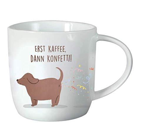 Grafik-Werkstatt 61428 Kaffeetasse mit Spruch 300 ml | Porzellan Tasse lustig | Konfetti