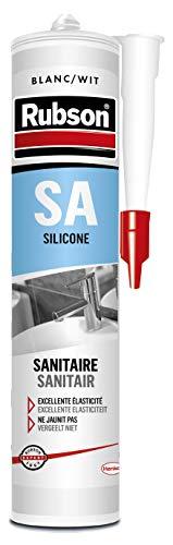 Rubson SA Mastic Sanitaire Blanc, Mastic silicone acétique contenant des antifongiques puissants, Joint sanitaire étanche pour tous matériaux émaillés, 300 ml