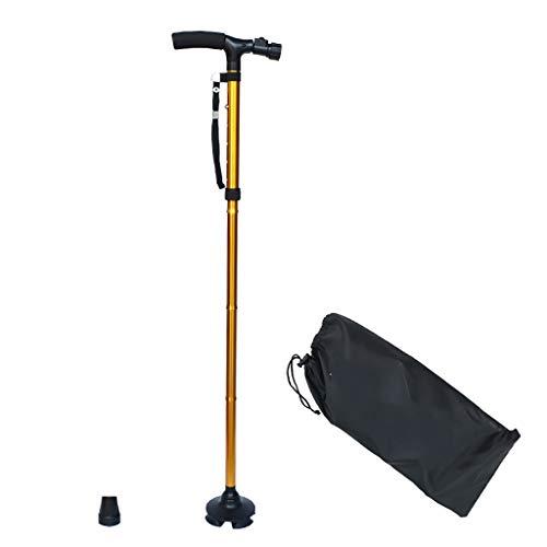XUEPING Walking Stick, Aluminium Riet, Crutch Zaklampen, Anti-slip Walker, LED Licht Draagbare Vouwen 5 Bij Schalen Verwisselbare Voet Cover 85-95cm 2 Kleuren