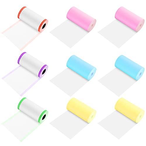 Fumanduo 9 Rollen Peripage Thermopapier Farb Aufkleber Papierrolle Thermopapier Fotodrucker Papier Thermodruckpapier Direkt-Thermopapier für Paperang P1 / P1S / P2 Pocket Foto Drucker(6 Stile 5.7*3cm)