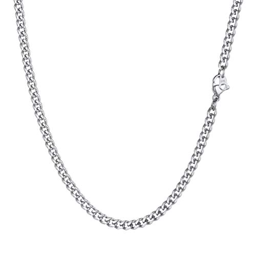 PROSTEEL Mens Stainless Steel Necklace 3mm 20 inch Cuban Link Chain Neck Chain Boys Jewelry
