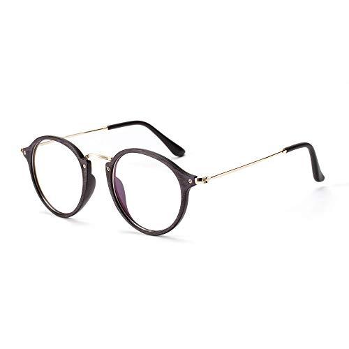 ZYDP Gafas Redondas Vintage de Madera Transparentes Marcos de anteojos sin Receta for Mujeres Hombres (Color : Red)