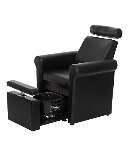 Buy-Rite Mona Lisa Plumb Free Pedicure Chair for Salons, Reclining Backrest, Adjustable Headrest, Pull Out Leg Rest is Adjustable and Lockable, No Plumbing or Installation, Black, CHM-2320-5H-BLACK