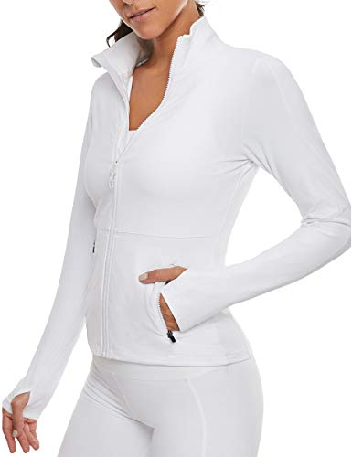 VUTRU Women's Workout Yoga Jacket Full Zip Running Track Jacket White Large