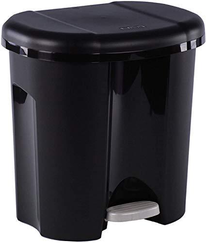 Rotho Duo, Cubo de basura 2x 10l para la separación de residuos con tapa y pedal, Plástico PP sin BPA, negro, 2 x 10l 39.0 x 32.0 x 40.5 cm
