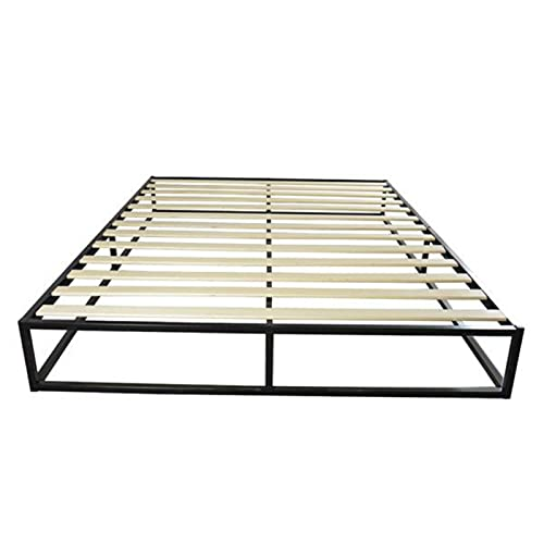 WYFDC Metal Bed Frame Simple Basic Iron Bed Black Strong Construction Solid Wood Support Easy To Assemble (Color : Black, Size : Twin)