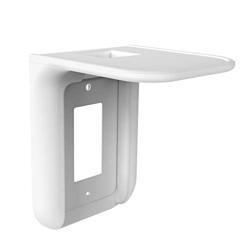WALI Wall Bathroom Shelf Standard Vertical Duplex Décor Outlet with Cable Channel for Cell Phone, Dot 1st and 2nd 3rd Gen, Google Home, Speaker up to 10 lbs (OLS001-W), 1 Pack, White