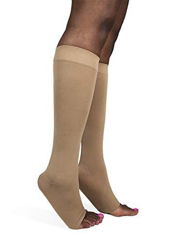 SIGVARIS Soft Opaque 840 - Calcetines de compresión para pantorrilla (punta abierta, 20-30 mmHg), Suave opaco 840., Color piel (nude), 1