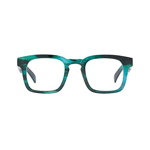 K-EYES – Gafas de lectura – Dioptría + 2 – Forma cuadrada – Color turquesa – ramas flexibles – Diseñado en Francia