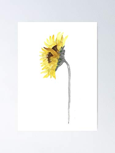 AZSTEEL Sunflower Image Drawing Yellow Grey Wall Art Print Poster
