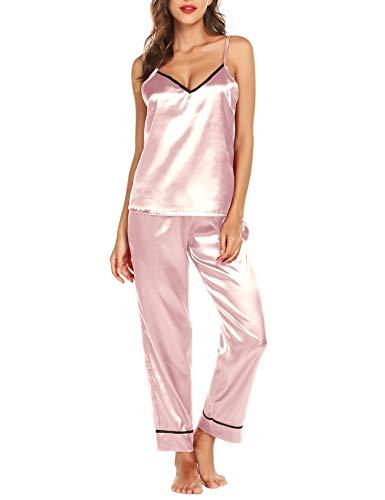 Mujer Satén Seda Set Pijama Conjunto de Pijama de Raso de 2 Piezas para Mujer Camiseta sin Hombro y Pantalones