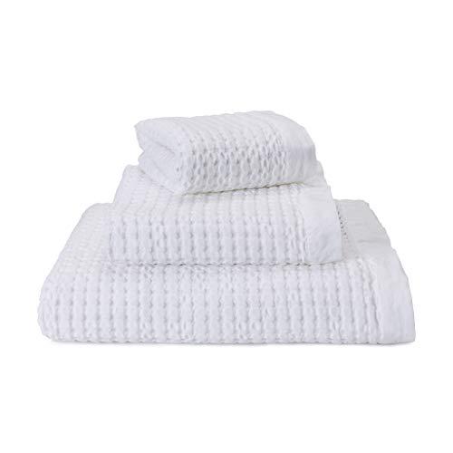 URBANARA Handtuch Veiros - 100% Reine Baumwolle, Weiß, 50 x90 cm Strukturiertem Waffelmuster, Duschtuch, Badetuch, Saunatuch, Strandtuch, Gästehandtuch, Strandlaken