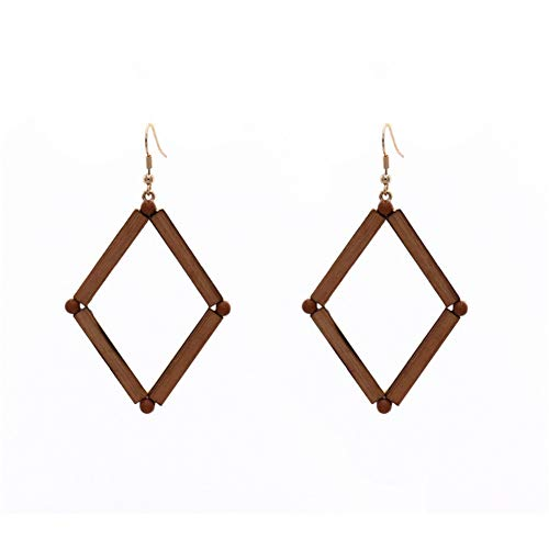 Z&HA Retro Holz Ohrringe Für Frauen Geometrische Hohlen Dreieck Bambus Ohrringe Anweisung Tropfen Baumelt Schmuck,Diamond