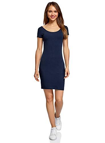oodji Collection Damen Enges Kleid mit Tiefem Ausschnitt am Rücken, Blau, DE 32 / EU 34 / XXS